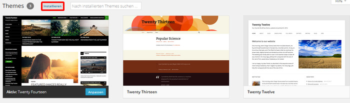 WordPress Themes installieren