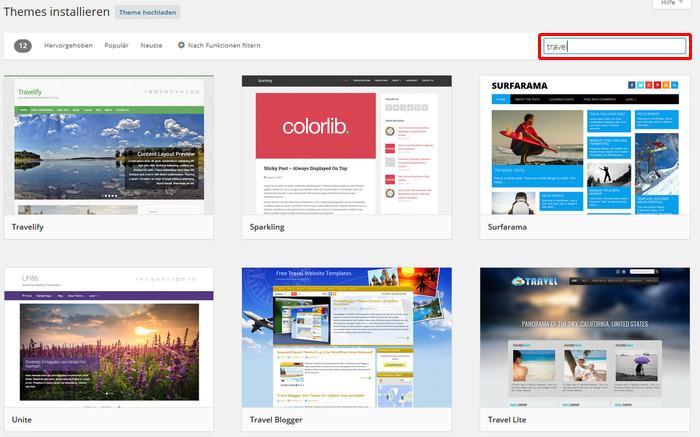 WordPress Theme auswählen