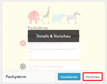 Themevorschau in WordPress