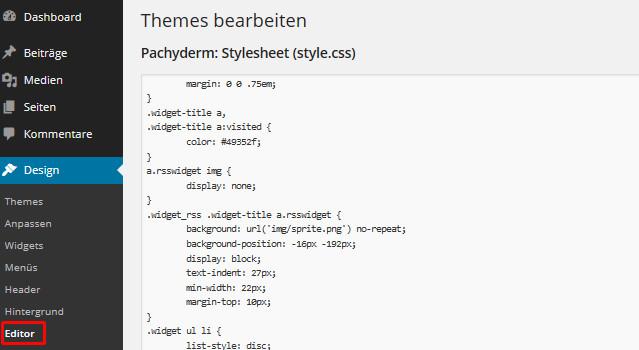 CSS des Themes bearbeiten