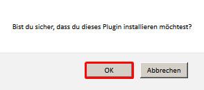 Plugin Installation bestätigen