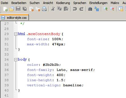 CSS-Änderungen im HTML-Editor