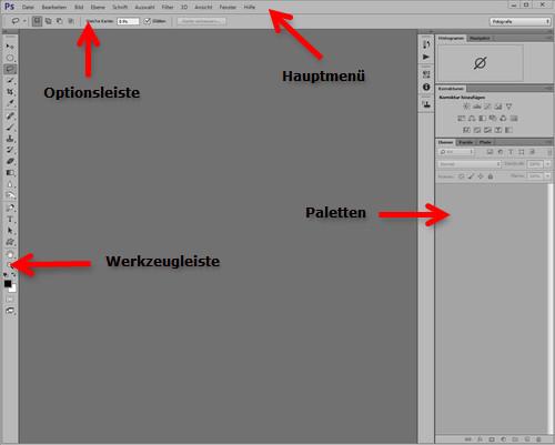 Arbeitsbereiche in Photoshop