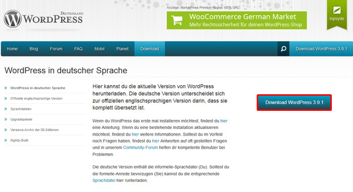 Deutsches WordPress Paket