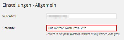 Untertitel des WordPress Blogs ändern