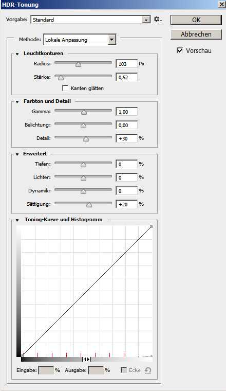 Photoshop Dialog HDR Tonung