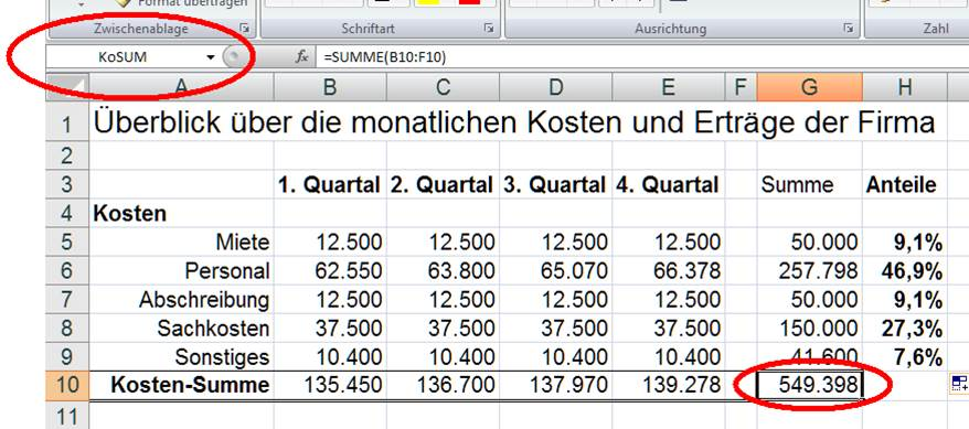 Konstanten Namensfelder in Excel