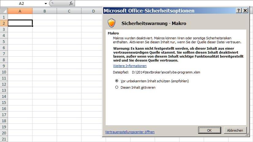 Sicherheitsabfrage nach Öffnen einer Excel-Datei mit einem Makro