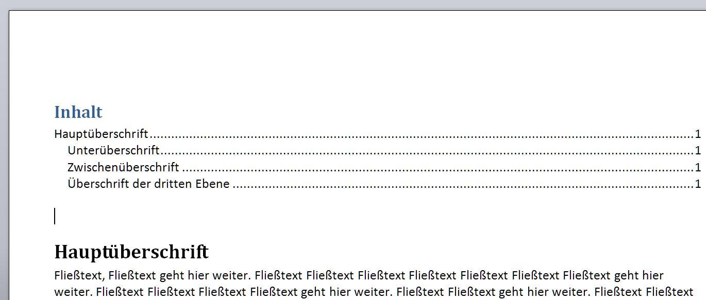 Das Inhaltsverzeichnis ist eingefügt