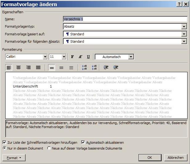 Formatvorlagen für das Inhaltsverzeichnis gestalten