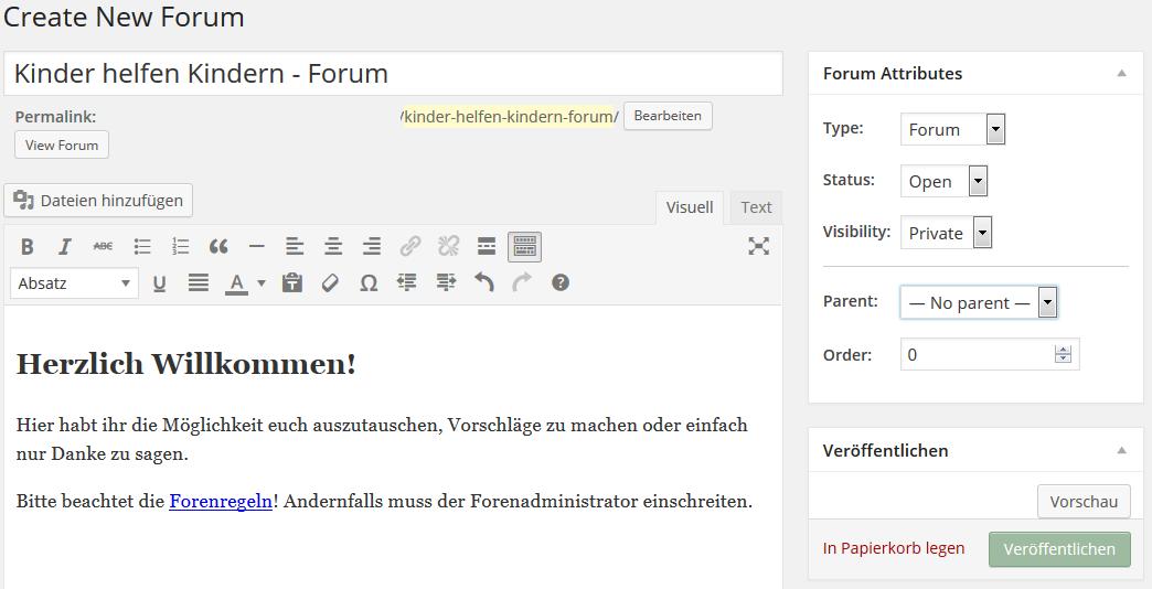 neues forum erstellen