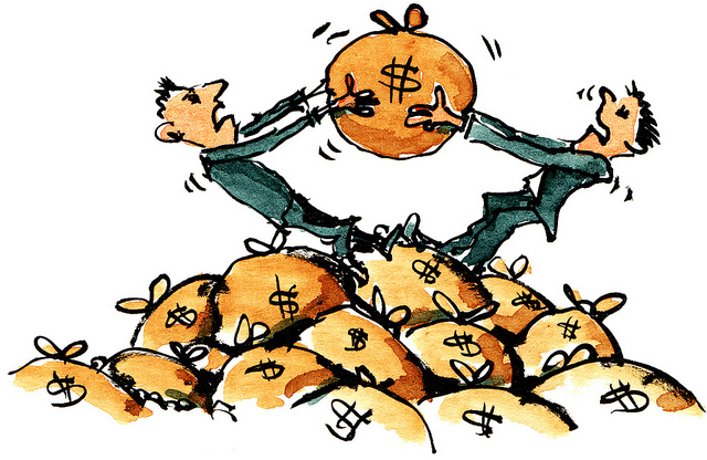 "Bild: ""Money-fight illustration"" von Frits Ahlefeldt-Laurvig. Lizenz: CC BY-ND 2.0"