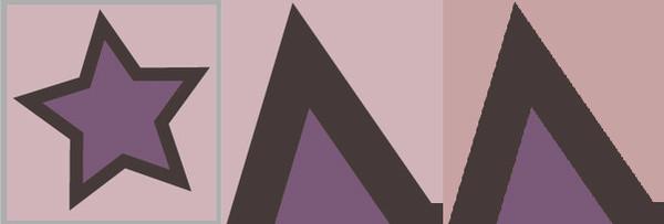 Eine Grafik in Vergrößerung: Mitte Vektorgrafik, rechts Pixelgrafik – mit deutlich sichtbaren Stufen in der Vergrößerung.