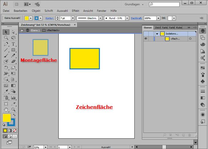 Auf der Montagefläche können Sie Objekte platzieren, die Sie erst später benötigen.