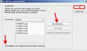 """Auswahl der Bilder Ihrer Belichtungsreihe im Dialogfenster """"Zu HDR Pro zusammenfügen"""""""