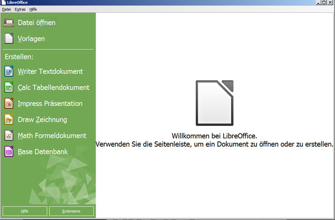 LibreOffice Startfenster