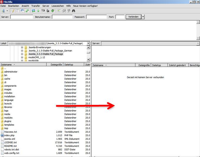 Installationsdateien einzeln auf den Server hochladen