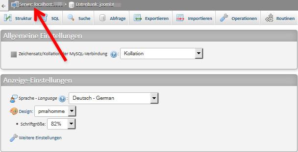 Datenbankfenster in phpMyAdmin