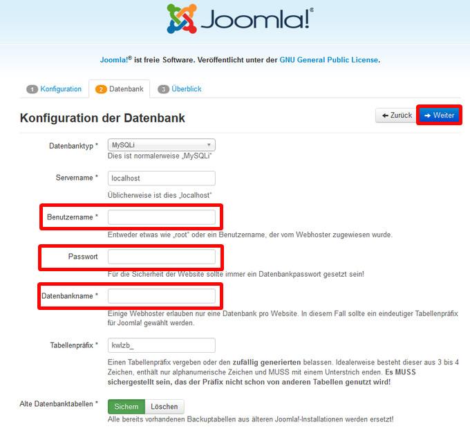 Abfrage der Zugangsdaten für Ihre Datenbank durch Joomla