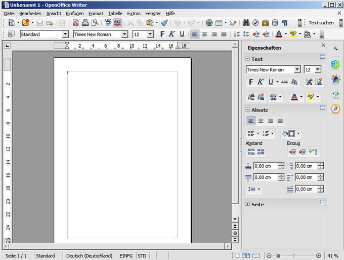 Textbearbeitungsfenster von Apache OpenOffice