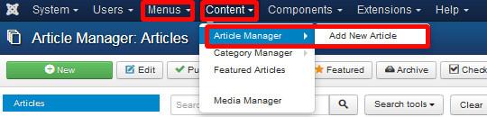 """Erstellen neuer Inhalte über """"Menus"""" und """"Content"""""""