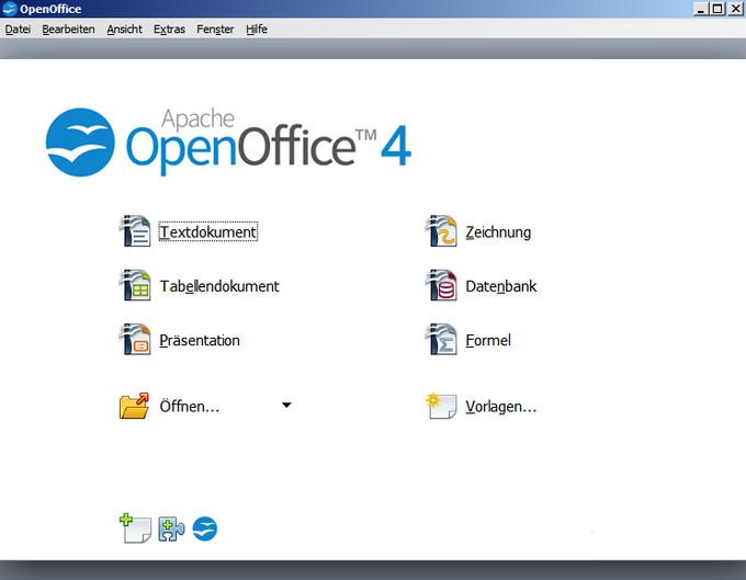 Dashboard von Apache OpenOffice