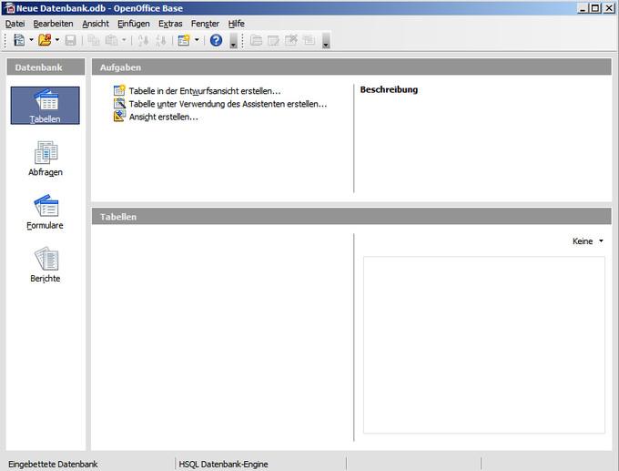Programmfenster für Datenbanken