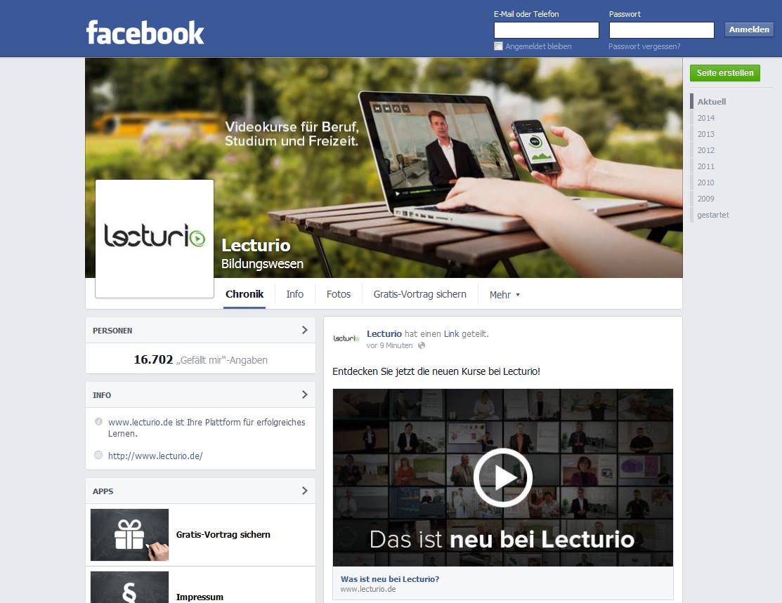 Unternehmensseite auf Facebook