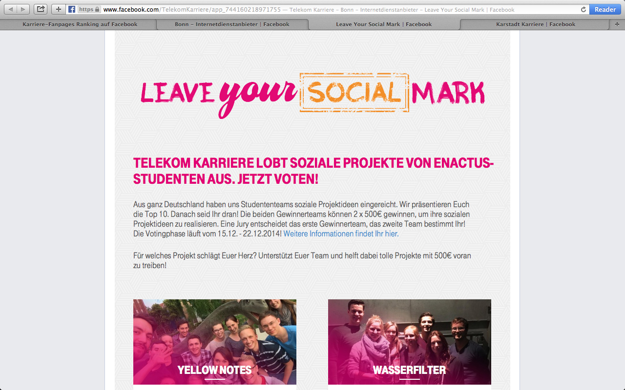"Facebook-Kampagne: ""Leave your Social Mark"""