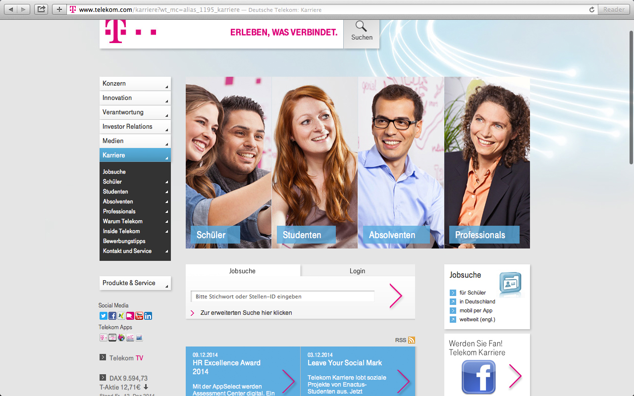 Die Karriere-Webseite der Telekom