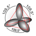 Vier sp3-Orbitale richten sich tetraedrisch in gleichem Winkel zueinander aus.