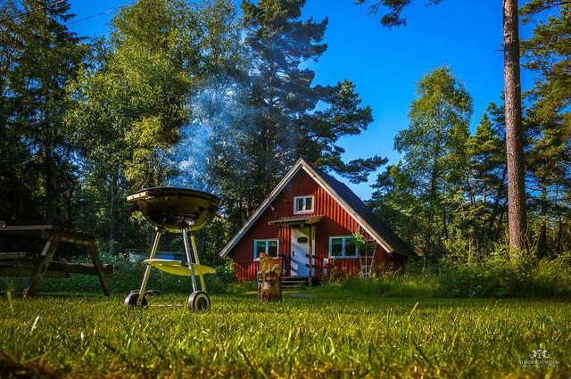 grill-vor-schwedischer-holzhutte-in-natur