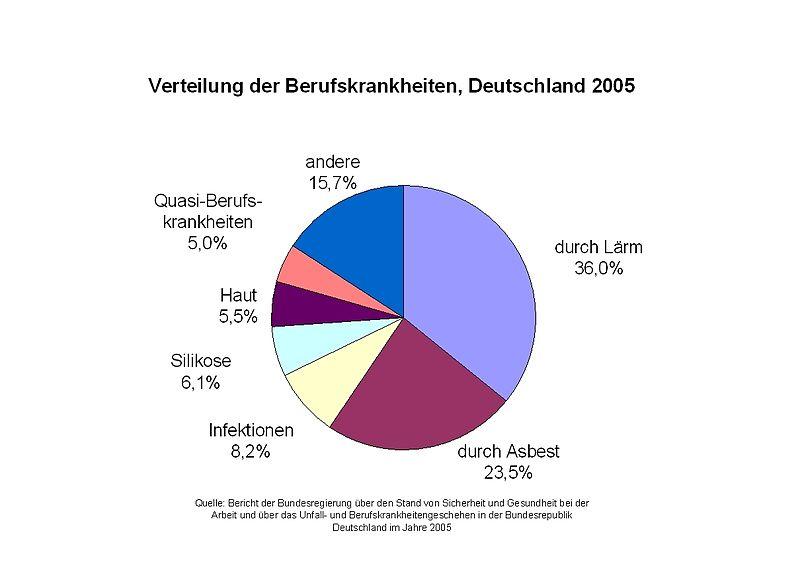 Berufskrankheitenverteilung 2005 in Deutschland