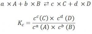 Berechnung des Massenwirkungsgesetzes